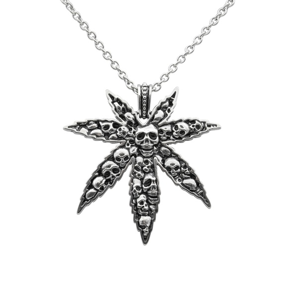 Other - Cannabis Leaf and Skulls Necklace Pot Weed Pendant